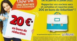 Reprise cartables chez Auchan: recevez 20€ en bons d'achat