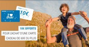 Decathlon : carte cadeau de 10€ offerte dès 60€ d'achat