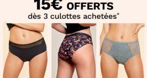 ETAM : 15€ de remise pour 3 paires de culottes menstruelles achetées